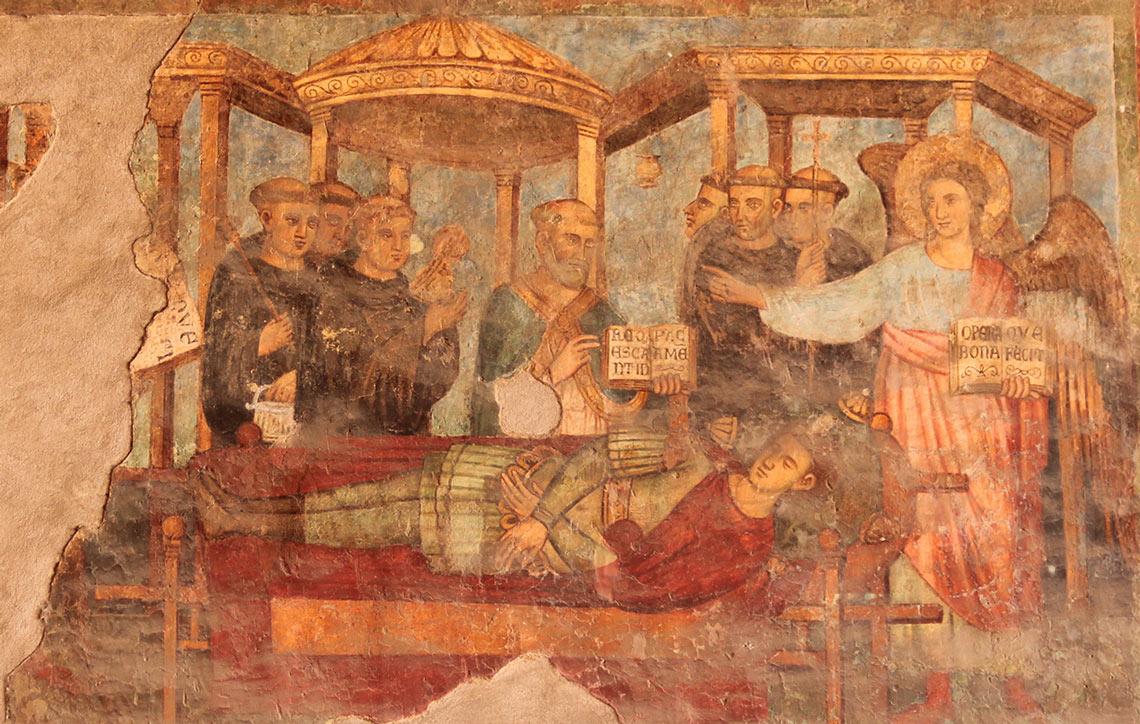 Il Calice d'oro rappresentato sulle pareti della Basilica di San Lorenzo Fuori le Mura - Roma | La Profezia del Santo Graal